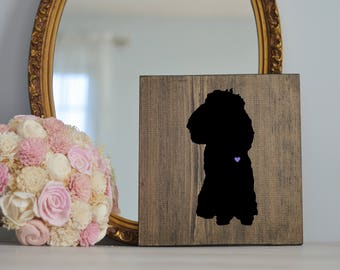 Hand Painted Toy Poodle Silhouette on Stained Wood, Dog Decor, Dog Painting, Gift for Dog People, New Puppy Gift, Housewarming Gift