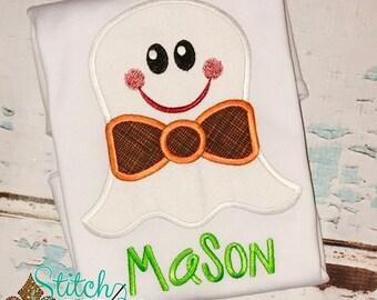 Ghost with Bowtie Applique, Ghost Applique, Halloween Applique, Halloween Shirt, Ghost Shirt, Halloween Romper, Boy Halloween Shirt