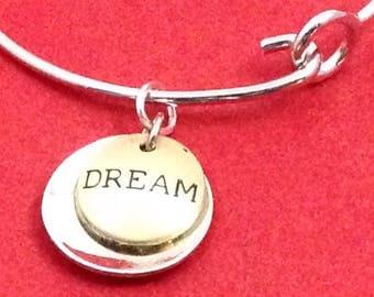 Inspirational Bangle Bracelet, Silver Bangle Bracelet, Motivational Gift, Whimsical Jewelry