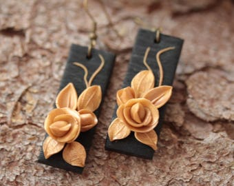 Black gold earrings, rose earrings, christmas gift  for her, gothic earrings, black floral earrings, romantic earrings, polymer clay