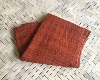 Orange Plaid Cotton Fabric