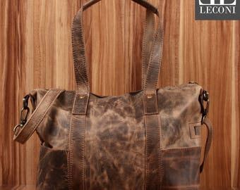 LECONI of tote bags leather bag shoulder bag lady bag ladies Tote Leather mud LE0034-wax