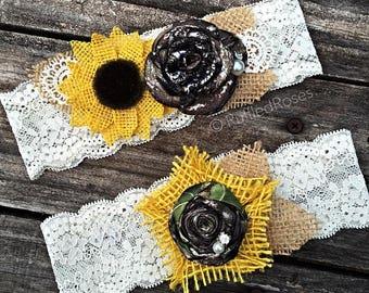 Camo Garter, Camo Sunflower Garter Set, Camo Lace Garter