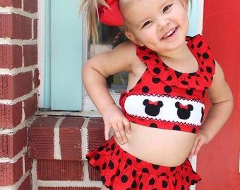 SALE! Minnie Smock bathing suit, summer, Smocked bathing suit,little girls, babies, Dash Forward, Vacation, Baby Bathing Suit, Smock