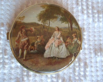 Vintage Compact Victorian Theme Made in Western Germany Two Mirrors Womens Accessories d667