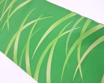 Japanese vintage fukuro obi woven grass
