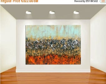 ON SALE Modern abstract painting original art deep texture golden silver red turquoise blue mixed media acrylic paintings wall decor free sh