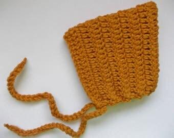 Wool pixie bonnet Mustard yellow hat Simple baby bonnet Crochet baby bonnet Crochet pixie hat Yellow baby bonnet  Wool newborn hat