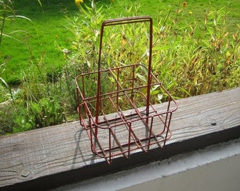 Metal Wine Carrier, French Bottle Carrier, French Wine Bottle Holder, Red Metal Bottle Carrier