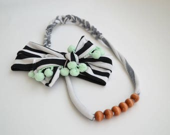 Mommy and Baby B&W Headband and Necklace Set: Braided Single Strand