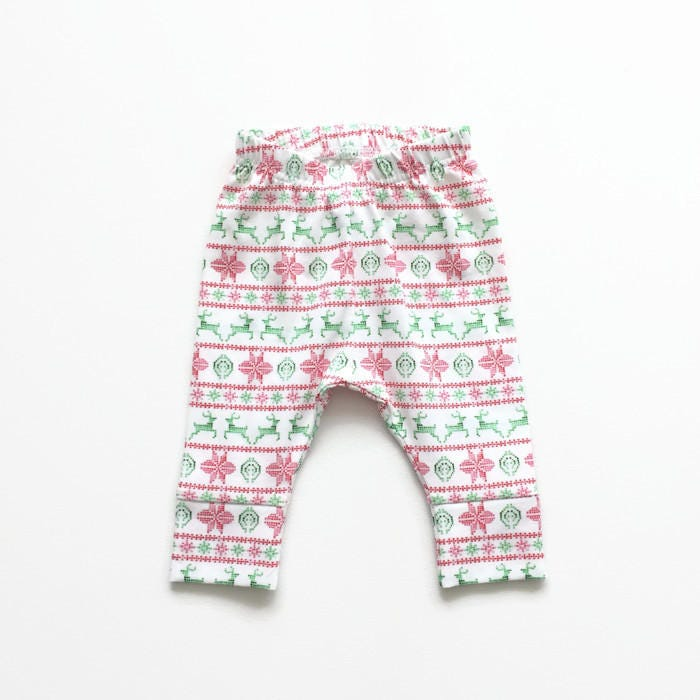Christmas baby leggings with red and green fair isle pattern ...