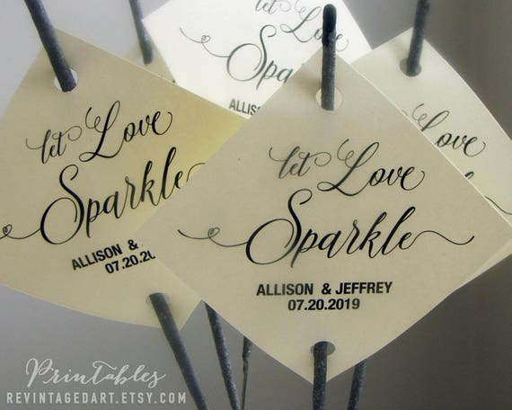 Let Love Sparkle Tags Printable Editable Tag Sparkler Wedding Send Off DIY Digital PDF Diamond Template From RevintagedArt