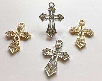5 pcs  Gold or Rhodium plated Rhinestone Cross Charms  Cross Pendant Cross Jewelry
