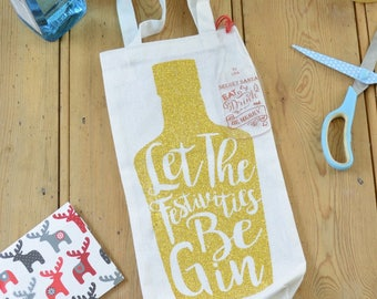 Personalised Secret Santa Christmas Gin Gift Bag