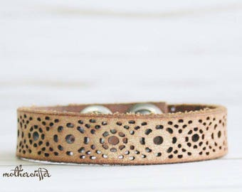 CUSTOM HANDSTAMPED narrow brown gold shimmer leather cuff by mothercuffer