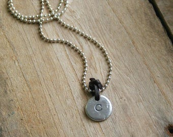 CUSTOM HANDSTAMPED Chunky Initial Charm Necklace by mothercuffer