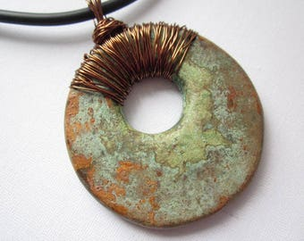 Statement necklace, polymer clay statement pendant necklace for her in green and bronze