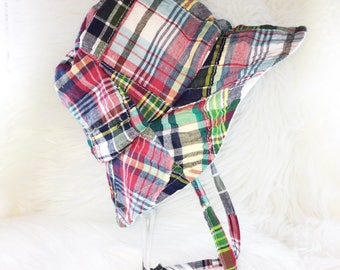 Plaid Patchwork Bucket Hat,  Sunhats, Beach Hat, Sun Bonnet