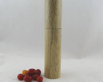 Spices and peppermill grinder in spalted Ash ,Cylinder  style with rod mechanisme  10 7/8 in article no: 575