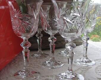 Pinwheel by Bohemia Crystal Wine Glasses 24% Lead Crystal Set of Six (6) Wineglasses Bohemia Glassworks Czechoslovakia