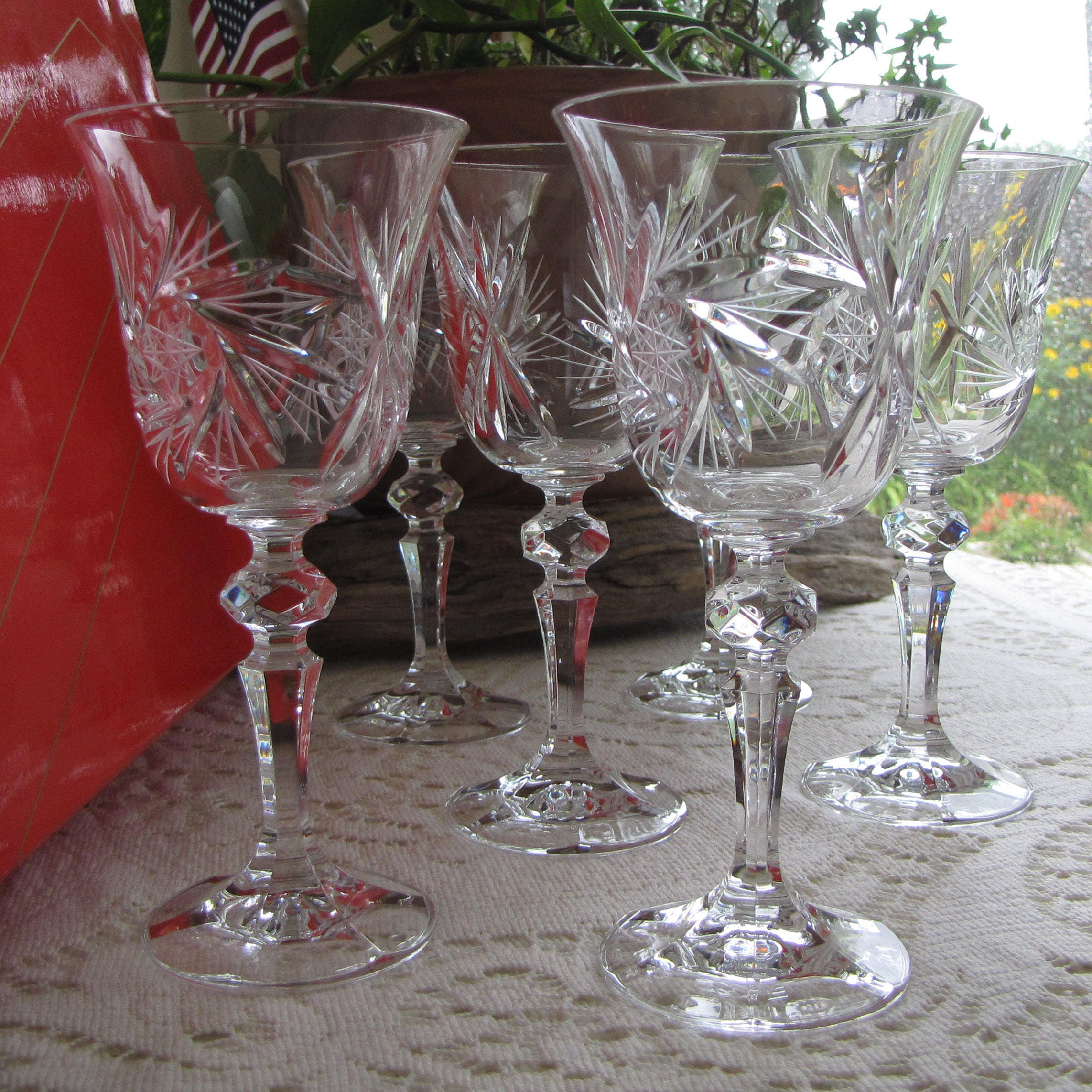 Pinwheel By Bohemia Crystal Wine Glasses 24% Lead Crystal Set