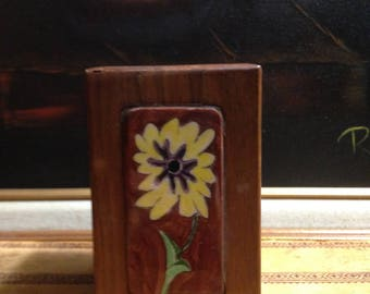 Walnut Playing Card Case - Floral Ceramic Panel