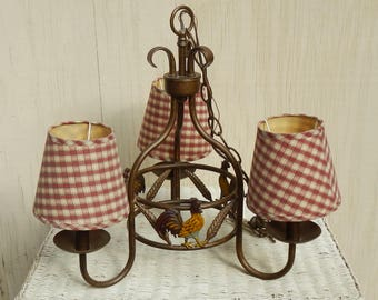 Charming French Country Rooster Hanging Light Fixture!
