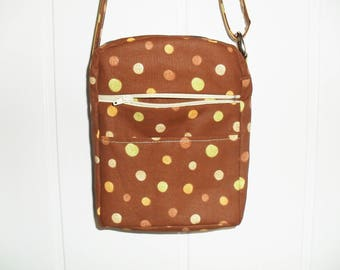 Polka dot Brown fabric satchel