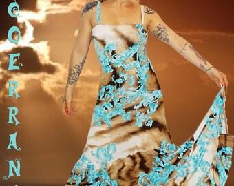 Bohemian long dress in stretch mesh 'Maybe'...