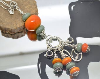 Necklace 76 cm glass beads handmade Lampwork saffron yellow and khaki chain Silver 925 necklace