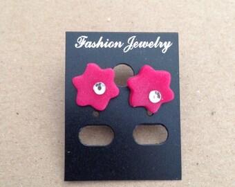 Polymer clay red flower earrings