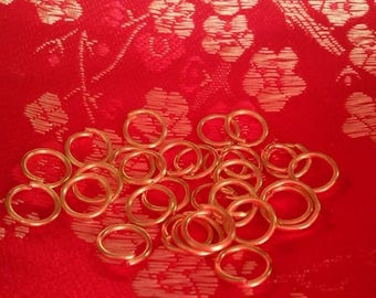 10 jump rings (6 mm) in 18 k gold plated