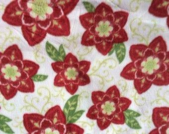 Fabric by the 1/2 Yard - Christmas Poinsettias Anti-Pill Fleece