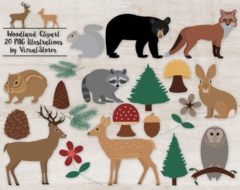 Woodland Clipart Forest Animals Plants Trees Flowers Woodland Animal Graphics Forest Clipart Owl Deer Stag Fox Chipmunk Bear Bunny Squirrel