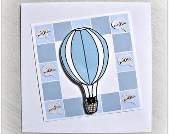 Invitation baby boy tribe of cats, kitten in hot air balloon, square blue outline