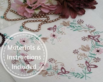 Traditional Transfer Embroidery Kit 'Tranquility (Mauves) : Beautiful Kits By Maggie Gee Needlework