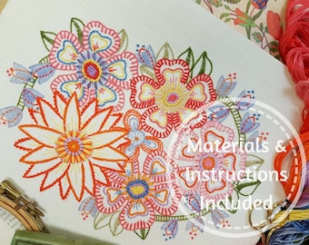 Advanced Beginner/Returning Embroiderer!*Traditional Transfered Embroidery Kit 'FOLLOW ON FLORALS'(Brights)*Companion to'Beginner Blossoms'