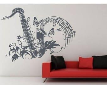 20% OFF Summer Sale Saxophon music wall decal, sticker, mural, vinyl wall art