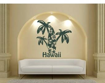 20% OFF Summer Sale Hawaii Palms wall decal, sticker, mural, vinyl wall art