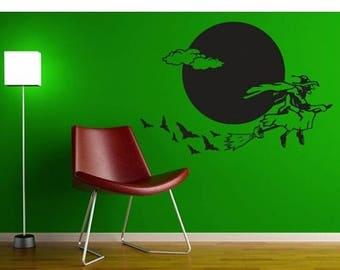 20% OFF Summer Sale Flying Witch Halloween wall decal, sticker, mural, vinyl wall art