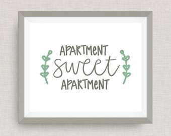 apartment sweet apartment home print - hand drawn, hand lettered, Option of Real Gold Foil