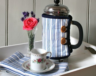 Blue Striped Cafetiere Cosy