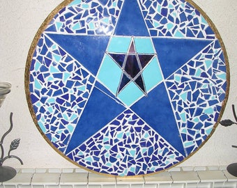 BLUE WITCH - ceramic mosaic - stained glass