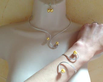 Set wedding necklace yellow pearl bracelet earrings arabesque aluminum yellow pearls