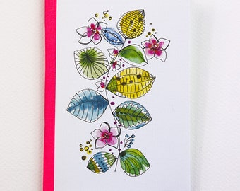 """Watercolor flowers and leaves"" notebook with cover laid paper, Pocket size"