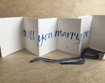 Will you marry me? marriage proposal, Luxury card, concertina book accordion card, blue petal paper with cornflowers, uk, for men, for women