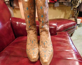 Vintage Coral  western Boots/ 8 1/2/  leather  cowboy boots/