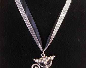 Ribbon with Rhinestone cat necklace