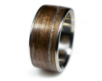 Walnut Wood Ring With Offset Snowflake Obsidian Inlay And Titanium Core - mens wooden rings, wood rings, rings for him