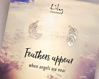Sterling Silver Feather Stud Earrings with 'Feathers Appear' Message Card - Feather Studs - Gifts for Her